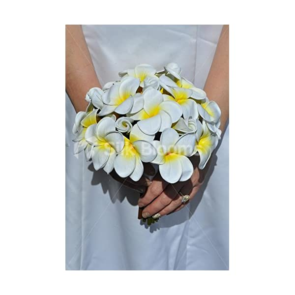 Exotic Artificial Fresh Touch Yellow Centred Frangipani Bridal Bouquet