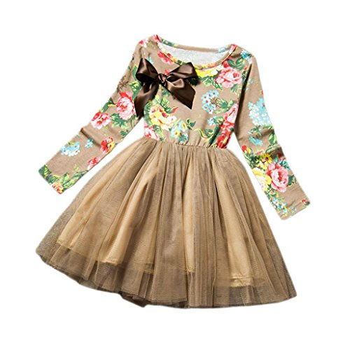 Kids Little Girls Cute Colorful Flowers Party Princess Dress by FEITONG