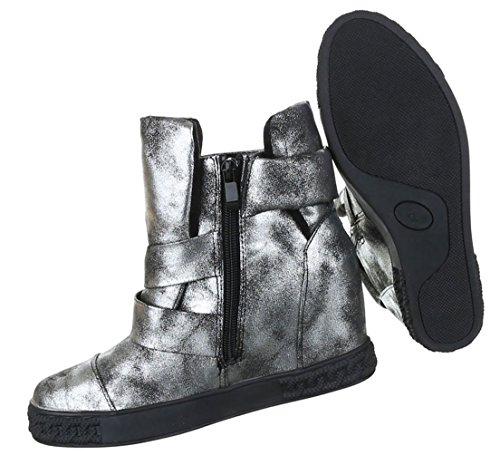 Damen Stiefeletten Schuhe Kurzschaft Moderne Keilboots Wedges Gold 40 bxiqqqPzbC