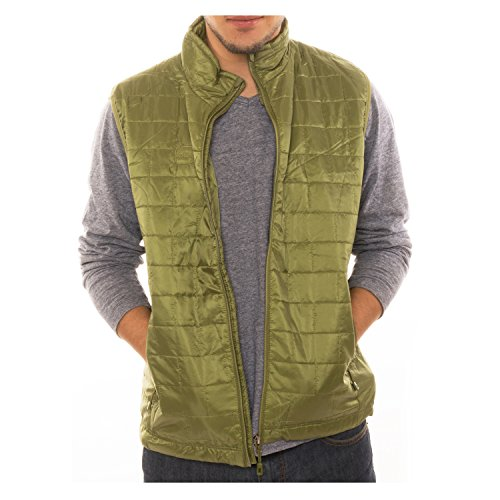 Altatac Men's Puffer Quilted Water Repellent Full Zipper Packable Vest Jacket Coat - Green - Small