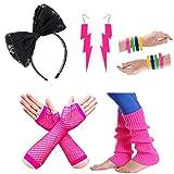 80s Fancy Dress Costume Accessories for Women Neon Earrings Leg Warmers Gloves (Set 14)