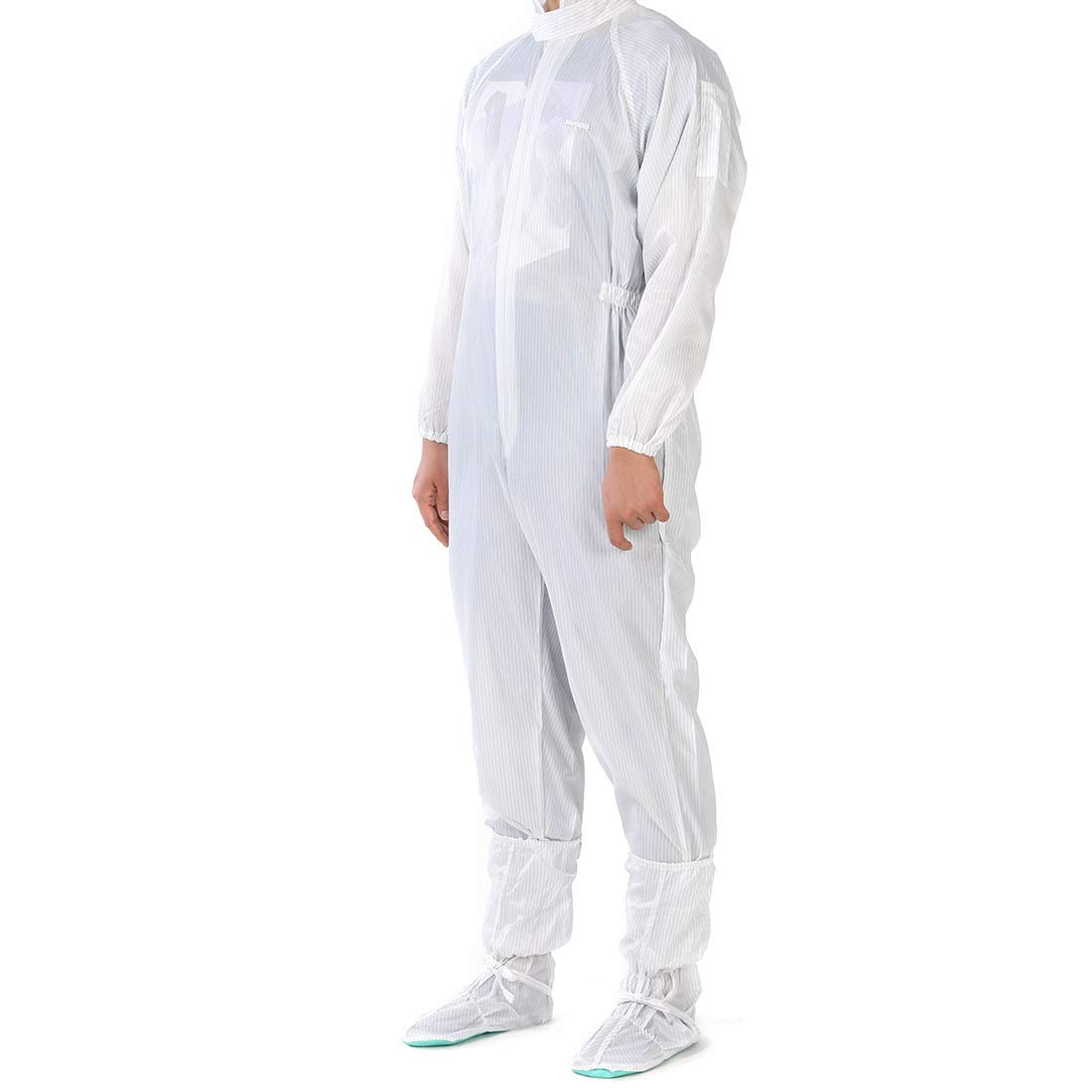 uxcell Dust Proof Anti-Static Jumpsuit Protection Coveralls L-Size White with Sole by uxcell