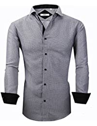 Dress Shirts for Men - Long Sleeve Printed Casual Slim Fit Contrast Collar