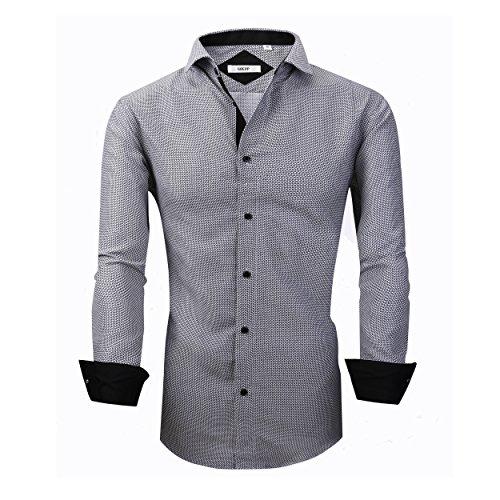 (GOEPP Dress Shirts for Men - Long Sleeve Casual Cotton Spread Collar Shirt,Slim Fit (Grey,L))