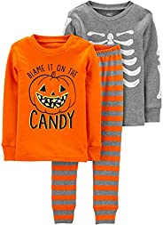 Simple Joys by Carter's unisex-child 3-Piece Snug-Fit Cotton Halloween Pajama Set Pajama