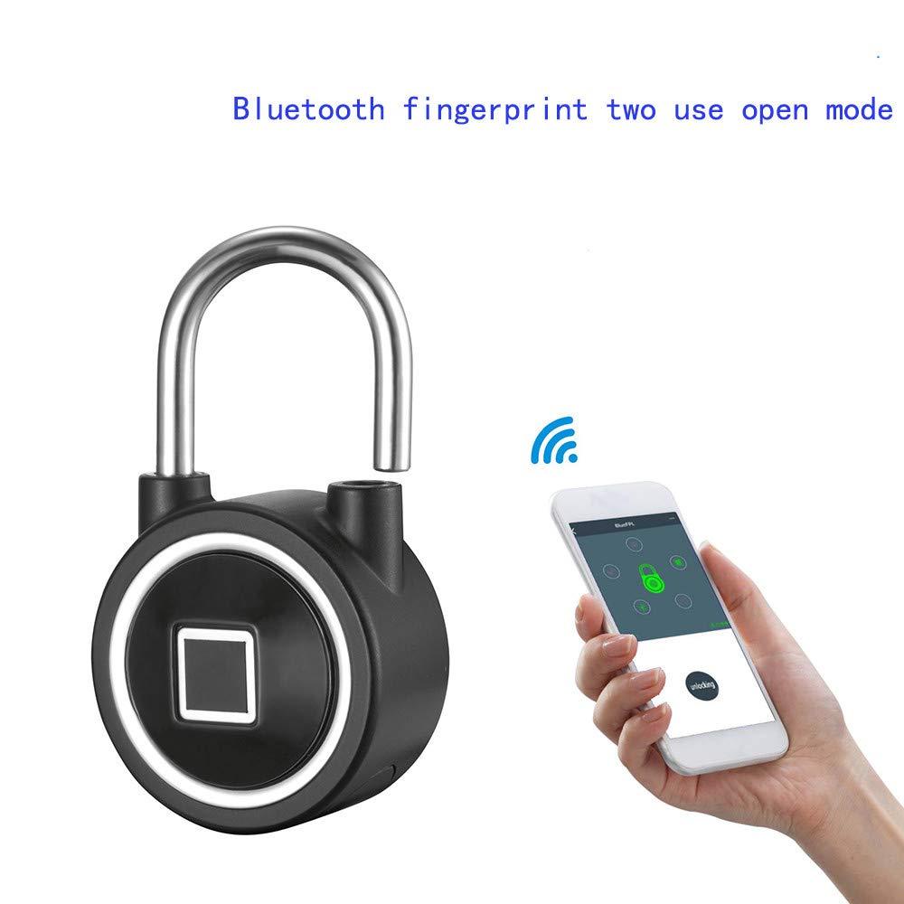 BZLine Intelligenter Vorh/ängeschlo/ß-Fingerabdruck Bluetooth Keyless Entsperren IP65 Wasserdichte Sicherheitsschloss Diebstahl Keyless Vorh/ängeschloss f/ür Gym T/ür Rucksack Gep/äck Koffer Bike Kann Silber