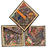 3 Decorative Indian Throw Pillow Cases Black Beaded Patchwork Cushion Covers 16 x 16