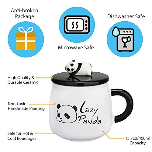 Funny Coffee Mug, Cute Ceramic Panda Mugs, Lovely Animal Tea Cups with 3D Panda Lid and Spoon, Best  - http://coolthings.us