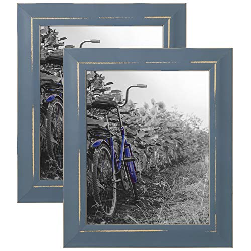 Americanflat 2 Pack - 8x10 Blue Rustic Picture Frames - Built-in Easels - Wall Display - Tabletop Display