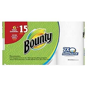 Bounty Paper Towels, White, 6 Huge Rolls