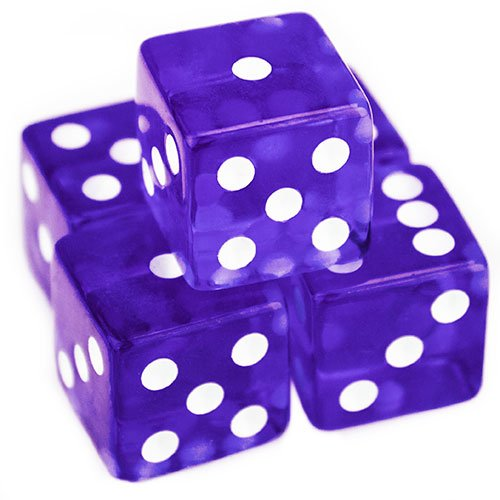 Backgammon Dice (Brybelly 5 Count 19mm Dice - Purple)