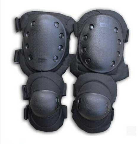 1 Set Military Tactical Combat Extreme Sport Gear Elbow & Knee Airsoft Protective Pads For CS Game Skateboarding Skating Hunting Outdoor Equip Black AV SUPPLY