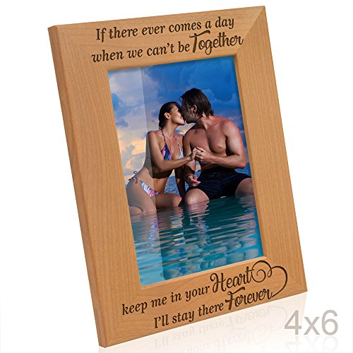 Forever Picture Frame - Kate Posh - If there ever comes a day when we can't be together, keep me in your heart, I'll stay there forever - Winnie the Pooh Engraved Natural Wood Picture Frame (4x6-Vertical)