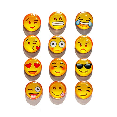 Refrigerator Magnets - 12 Pack 3 D Emoji Magnets for Whiteboard/Dishwasher, Cute Magnetic Emoji Chriatmas Gift Office Supply Fun Fridge Magnets for Toddlers By Aibily ()