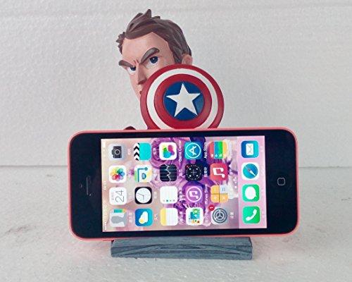 Captain America Phone Desk Stand, Resin Figurine, Khalil (Captains Pedestal)