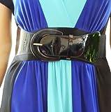 Funfash Plus Size Women Cinch Black Patent Leather Stretch Elastic Belt 3 X 24 26