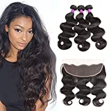 Ossilee Hair Lace Frontal with Bundles Malaysian Body Wave Human Hair with Frontal 8A Malaysian Virgin Hair Body Wave 3 Bundles with Lace Frontal Closure (16 18 20+14frontal, Natural Color)