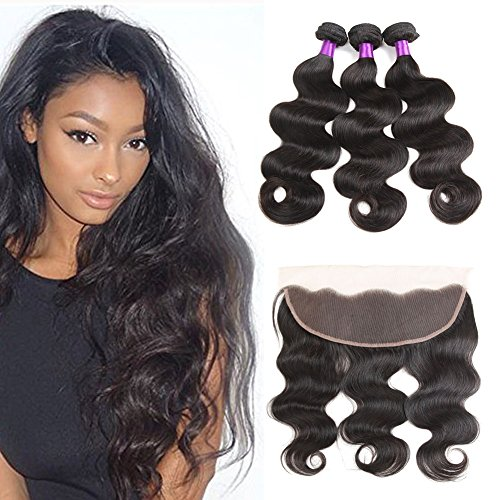 Ossilee Hair Lace Frontal with Bundles Malaysian Body Wave Human Hair with Frontal 8A Malaysian Virgin Hair Body Wave 3 Bundles with Lace Frontal Closure (16 18 20+14frontal, Natural Color) by Ossilee Hair