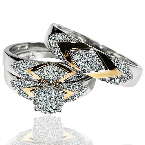His her wedding rings set trio men women 14k white gold for Two toned wedding ring sets