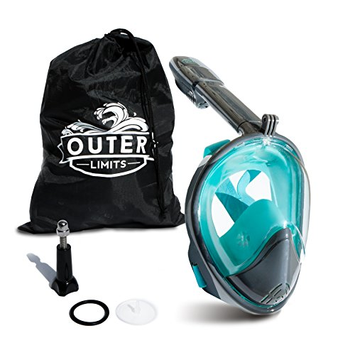 Outer Limits Full Face Snorkel Mask Adult - Action Camera Mount Snorkel Set - 180° Panoramic View - Bubble Design with Longer Snorkel (Outer Ring Bolts)