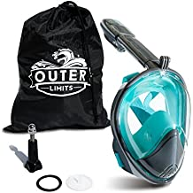 Outer Limits Full Face Snorkel Mask Adult - GoPro Compatible - Scuba Mask - 180° Panoramic View 2018 Bubble Design a Longer Snorkle - Snorkeling Gear - Adult Mask Snorkel Sets