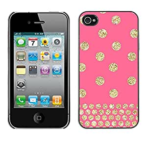 [Neutron-Star] Snap-on Series Teléfono Carcasa Funda Case Caso para iPhone 4 / 4S [Dot rosa del brillo del oro de Bling]
