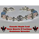 MAPLE LEAF 63 - ROSE QUARTZ & LARIMAR SILVER TONED GEMSTONE BRACELET! ONE SIZE FITS MOST! ALL OF OUR GEMSTONE BRACELETS ARE HAND CRAFTED IN PETERBOROUGH, ONTARIO. OUR GEMSTONE BRACELETS MAKE EXCELLENT GIFTS!