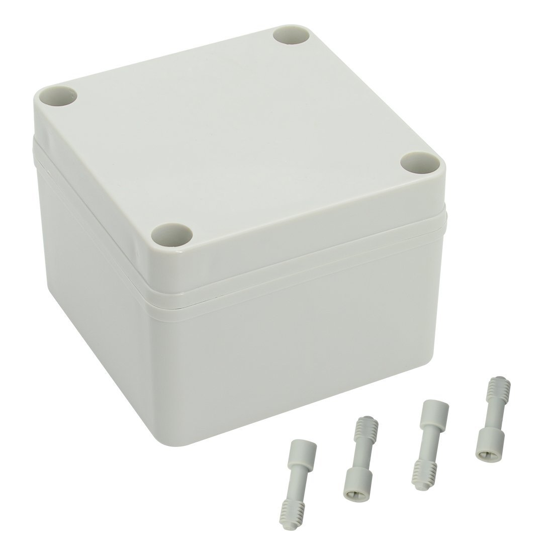 LeMotech Waterproof Dustproof IP67 Junction Box DIY Case Enclosure Gray 3.9'' x 3.9'' x 3''(100mm x 100mm x 75mm)