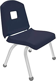 """product image for Creative Colors 1-Pack 12"""" Kids Preschool Stackable Split Bucket Chair in Navy with Platinum Silver Frame and Ball Glide"""
