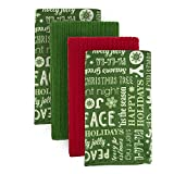 DII Microfiber Multi-Purpose Cleaning Towels Perfect for Kitchens, Dishes, Car, Dusting, Drying Rags, 16 x 19, Set of 4 - Holiday Greetings