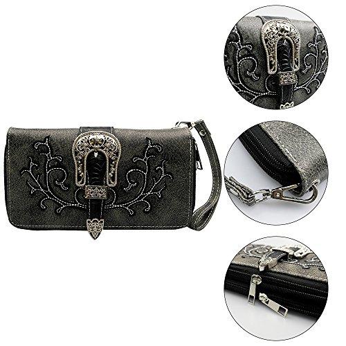 Floral Pu Purse Women Embroidery Belt Black For Dearchuu Western Wristlet Buckle Tooled La Bag Cut Laser Zip Clutch OqnB5w