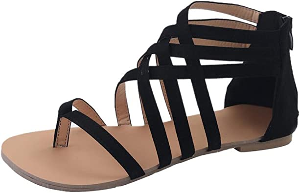 Xiakolaka Womens Flat Sandals,Ankle Strap Gladiator Thong Shoes Black 39