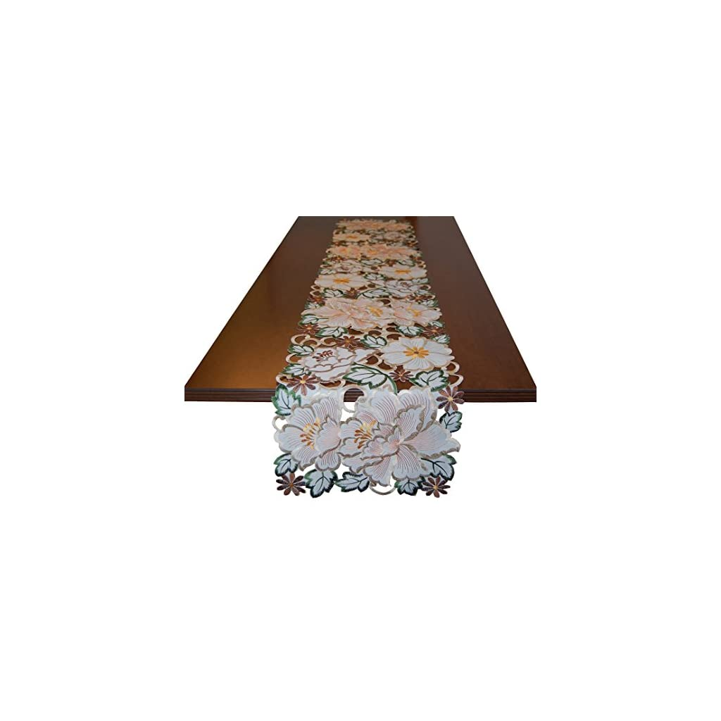 EcoSol Designs Flowery Table Runner (13″x 68″, Fall Colors)