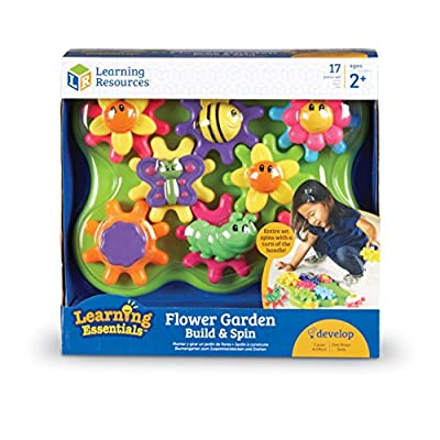Learning Resources Flower Garden Build & Spin Playset, Toddler Fine Motor Toy, Easter Basket Toy, 17 Pieces, Ages 2+: Toys & Games