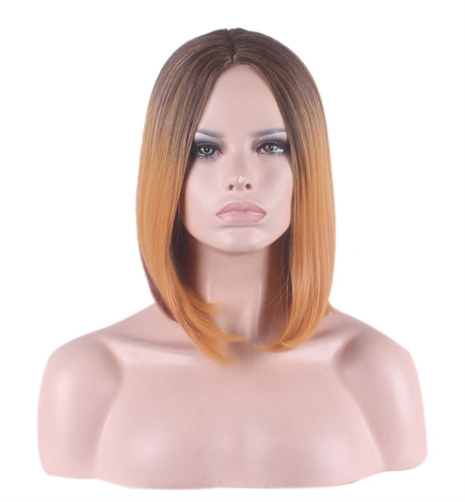 AneShe Womens Black and Brown Ombre Wig Short Straight Bob Style Heat Resistant Synthetic Hair Wigs (Black to Brown)