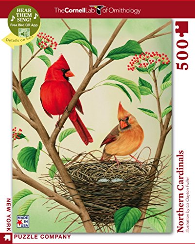 500 Cardinals Piece Puzzle - New York Puzzle Company - Cornell Lab Northern Cardinals - 500 Piece Jigsaw Puzzle