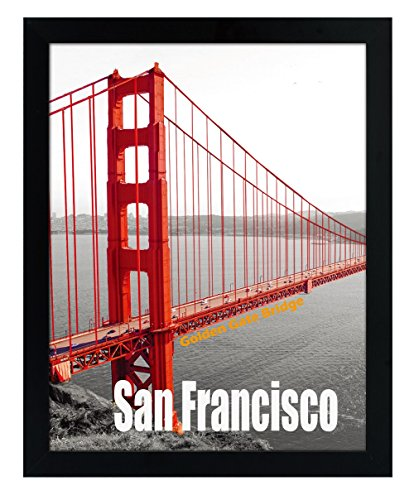 Frametory, 11X14 Pre-Assembled Black Poster Frame - Golden Gate Bridge Gallery Edition by Frametory