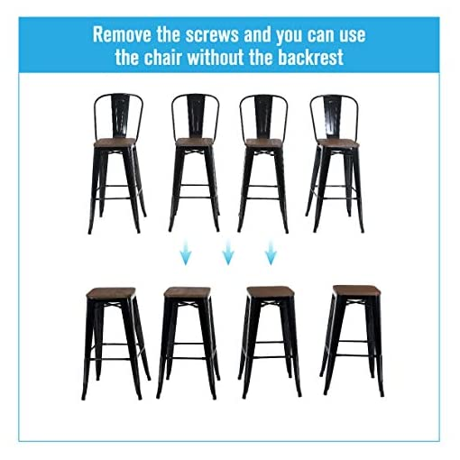"""Farmhouse Barstools ALPHA HOME 30"""" High Back Bar Stools with Wood Seat, Metal Indoor-OutdoorDining Coffee Chairs Stackable 4 Industrial… farmhouse barstools"""