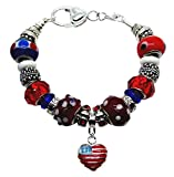 Patriotic Charm and Bead Bracelet European Style 8 Inch Silver Chain Gift Box 4th of July