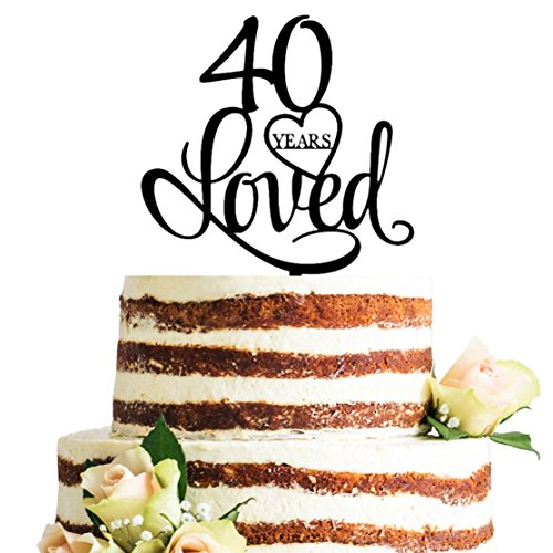 Black Acrylic 40 Years Loved Cake Topper, 40th Birthday Anniversary Party Decorations (40, Black) -