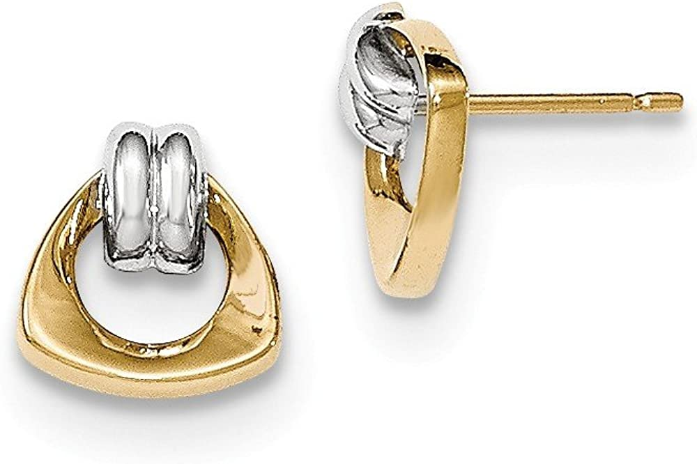 14k With Rhodium Polished Fancy Post Earrings
