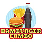 """HAMBURGER COMBO 12"""" Concession Decal sign cart trailer stand sticker equipment"""