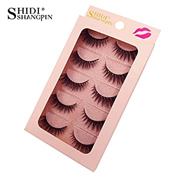 24a18c0e3fe SHIDISHANGPIN 5 Pairs Black Eyelashes Natural Long 3d Eyelashes 1cm-1.5cm 3d  Thick False