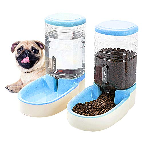 Happycat Pets Gravity Food and Water Dispenser Set,Small & Big Dogs and Cats Automatic Food and Water Feeder Set,Double…