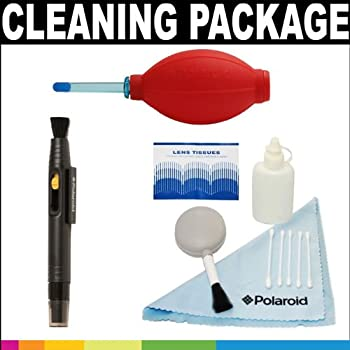 Polaroid Premium Package: Polaroid 5 Piece Camera/Camcorder Deluxe Cleaning Kit, Polaroid Super Blower With Hi Perfomance Silicon Squeeze Bulb and Polaroid Lens Cleaning Pen For Digital Cameras, SLR's and Camcorders