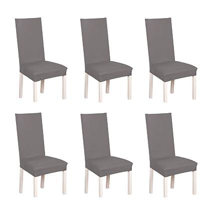 SD Maket Hermosa Vida* 6pcs elásticas Fundas para sillas de Salon, Cubierta de Asiento Funda de Silla Comedor Spandex Poliéster (Gris)