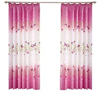 """Pannow Butterfly Flowers Printed Semi-Blackout Curtains with Hooks Girls Room Curtain Panels for Bedroom Living Room Kids Room or Nursery Window Drapes - 39"""" x 78"""", 2 Panels"""