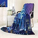 vanfan Throw Fuzzy Fleece Microfiber Blanket Scenery Image Kuala Lumpur India Cityscape Skyscrapers Artwork Print Multicolor,Silky Soft,Anti-Static,2 Ply Thick Blanket. (50''x30'')