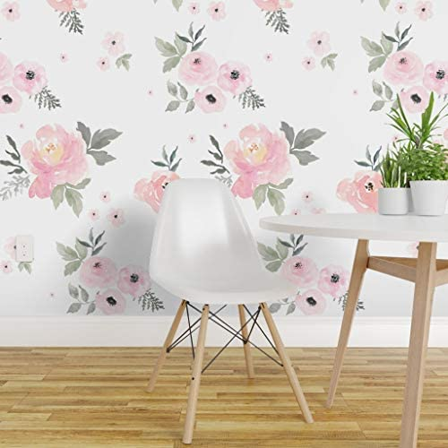 Chamomile Baby Girl Floral Peel-and-Stick Removable Wallpaper Pink Rose