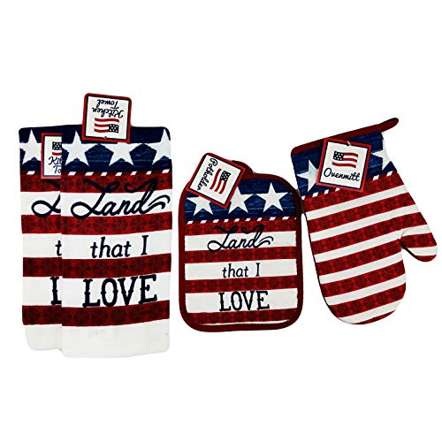 Mainstream Patriotic 4 Piece Kitchen Set Dish Towels Potholder Oven Mitt Americana Stars and Stripes